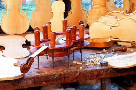 Close up shot of violin in press Stock Photo - 4710227