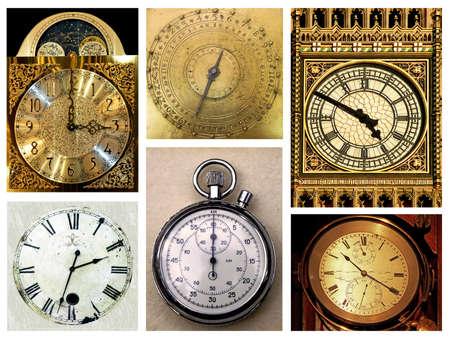 numeros romanos: Mont�n de diferentes relojes aislados en blanco Foto de archivo