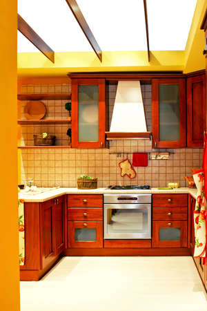 Interior of wooden kitchen in country style photo
