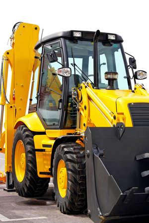 Close up shot of yellow construction digger photo