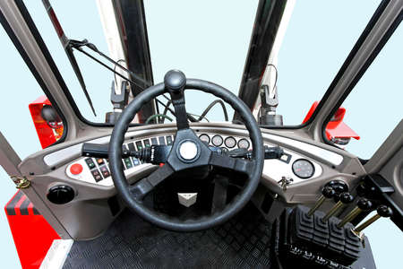 lifter: Driver view from fork lifter vehicle cabin Stock Photo