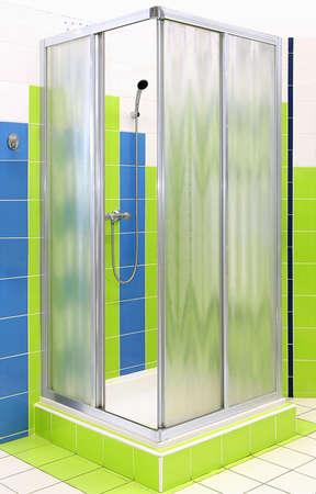 forme carre: Forme carr�e avec cabine de douche en verre mat