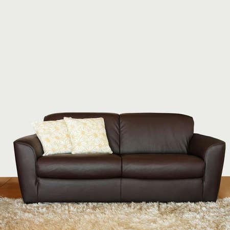 brown leather sofa: Divano in pelle marrone con due cuscini floreali Archivio Fotografico
