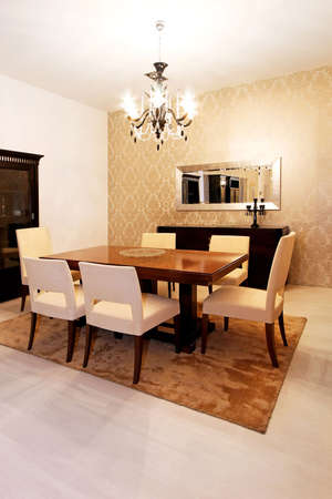 dining table and chairs: Interior shot of old style dining room