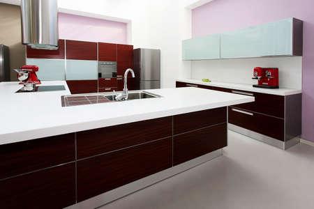 Interior shot of big modern purple kitchen