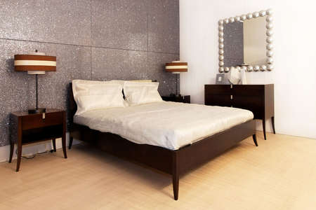 Interior shot of modern style silver bedroom photo
