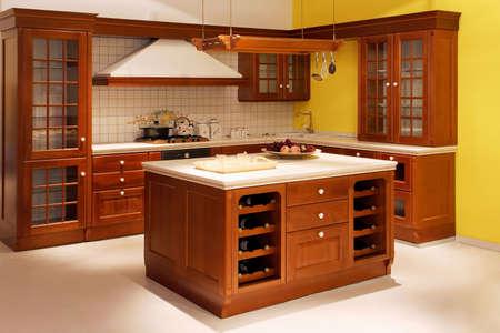 Interior shot of American style wooden kitchen photo