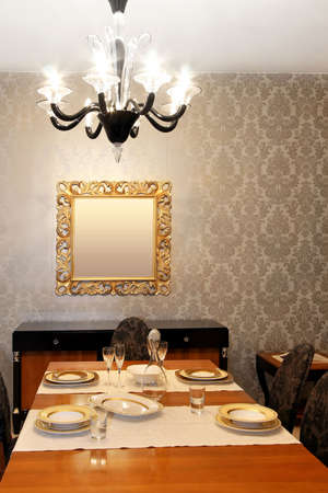 Interior shot of old style dining room photo