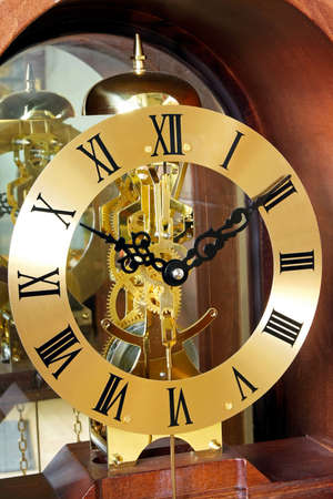 analogue: Close up shot of analogue gold clock