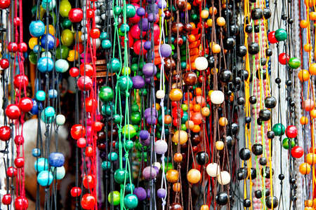 bijoux: Bunch of colorful wooden necklaces with balls Stock Photo