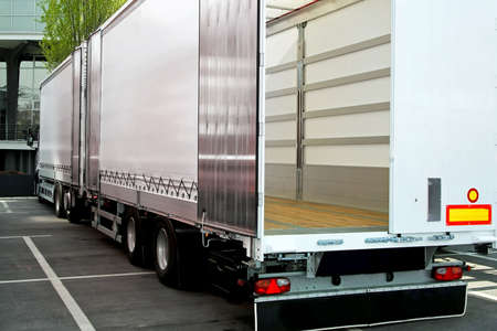 Empty truck and trailer with open back door  Stock Photo - 5130470