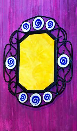 octogonal: Espejo en hierro octogonal p�rpura pintura mural