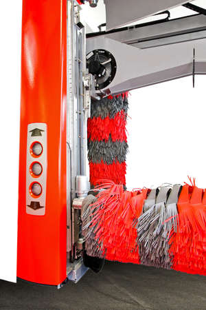 Automatic red car wash machine with rubber brush Stock Photo - 5312679