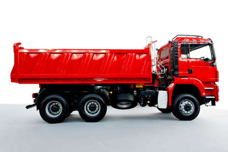 dumps: Red tipper dump truck for construction work