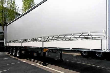 Close up shot of silver lorry trailer Stock Photo - 5312631