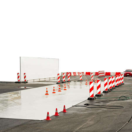 test drive: Test drive track for wet drive conditions Stock Photo