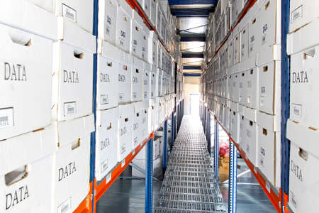 warehouse building: Long rows of data boxes in warehouse