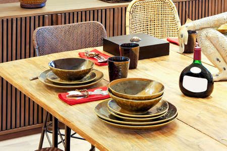 Rustic table setting with natural materials photo