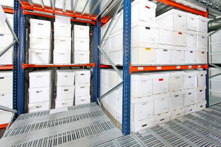 depository: Bunch of white boxes in big storehouse