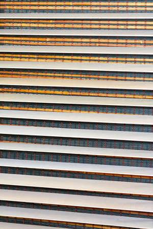 Close up shot of wooden sun blinds photo