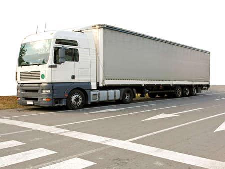 Big and long semi truck at street photo