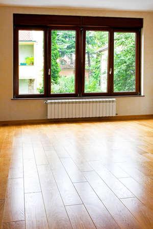 big windows: Four big windows in empty living room