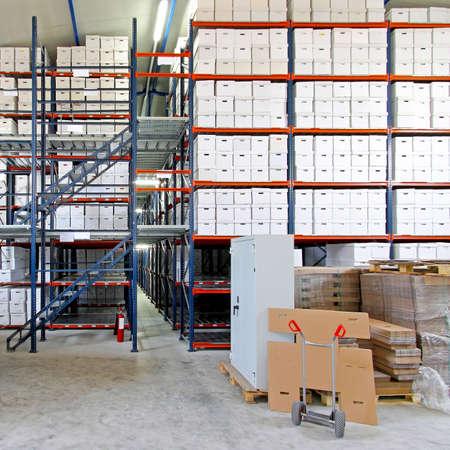 storage box: Safe box in front of big storage shelves