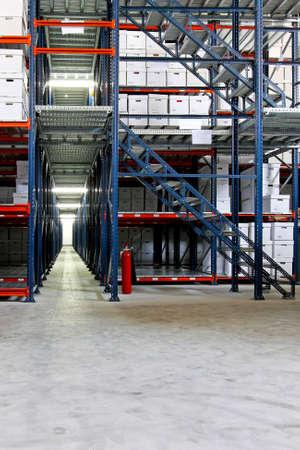self storage: Interior shot of warehouse with self storage boxes