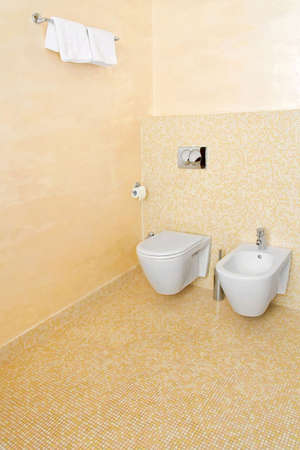 Interior shot of beige lavatory with white toilet seats photo