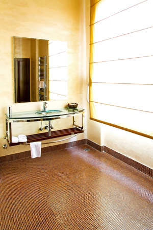 Glass sink and big mirror in sepia lavatory photo
