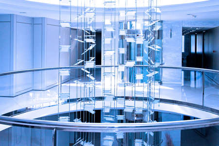 Blue interior of big business office building photo