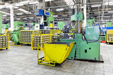 Metal production heavy machines and factory interior photo