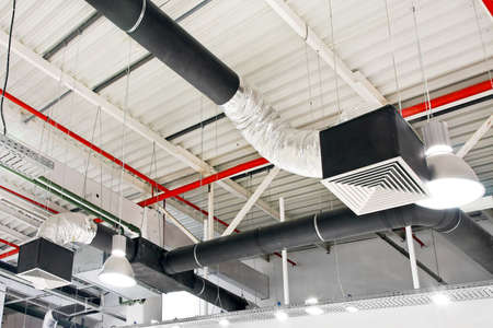 ceiling fan: Industrial air duct ventilation equipment at ceiling