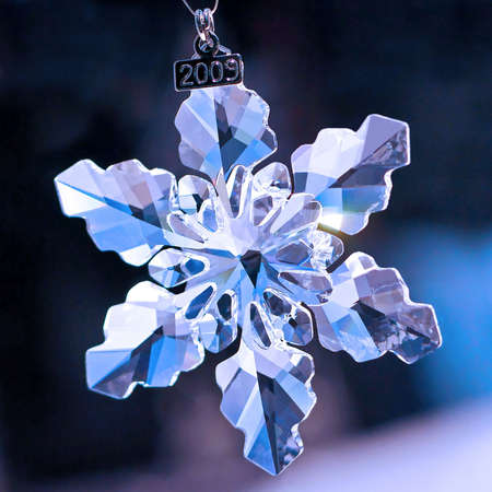 Crystal snowflake with small 2009 year plate Stock Photo - 5952947