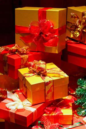 big pile of red and yellow christmas gifts stock photo 5952722 - Big Christmas Gifts