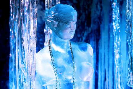 ice sculpture: Close up shot of frozen woman sculpture