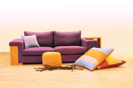 upholster: Contemporary purple upholster sofa with pillows decoration