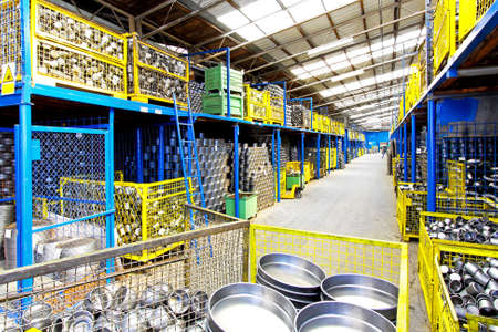 coffeepots: Interior of big storehouse in metal factory