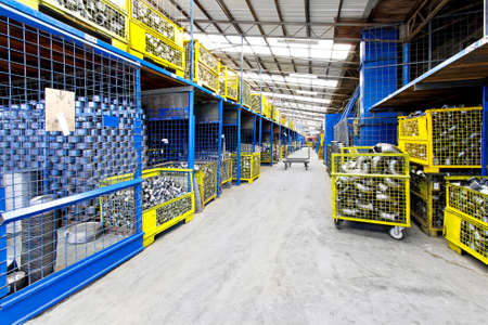 factory interior: Interior of big warehouse in metal factory Stock Photo