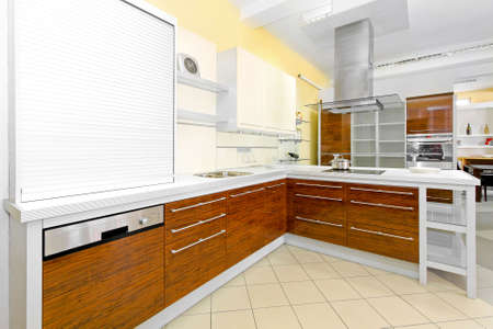 Angle shot of modern kitchen with wooden cabinet Stock Photo - 6017177