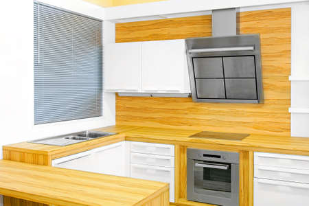 Interior of light wood kitchen with modern appliances Stock Photo - 6017171