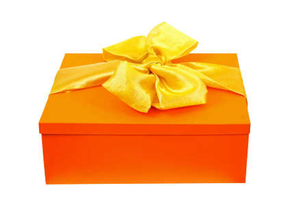 give out: Orange gift box isolated included clipping path