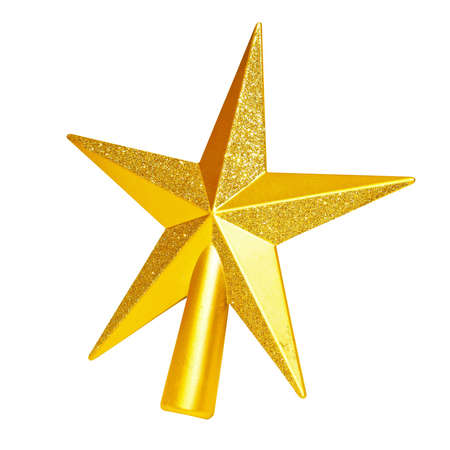 star path: Golden top star isolated included clipping path