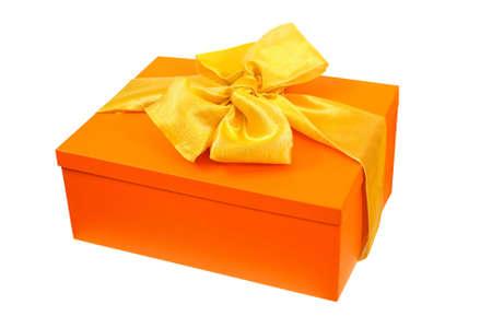 Oranje cadeau hoek geïsoleerd opgenomen Stockfoto - 6111834