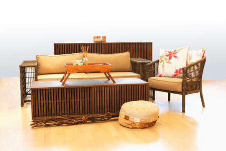upholster: Nature style sitting area and wooden table Stock Photo