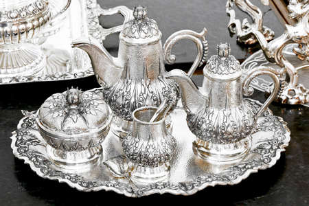 silver tray: Old luxurious silver tea set at tray