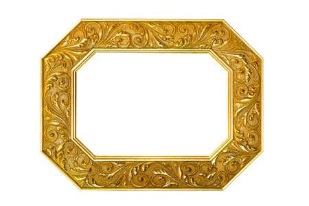 octagonal: Marco de oro octogonal aislado incluido el trazado de recorte Foto de archivo