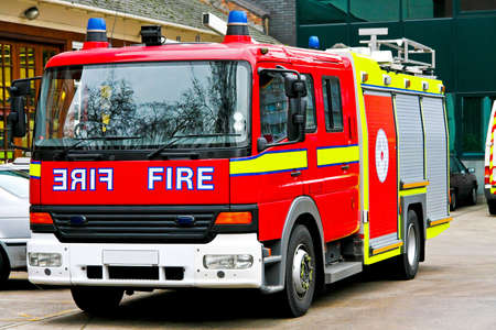 engine fire: Close up shot of emergency fire engine