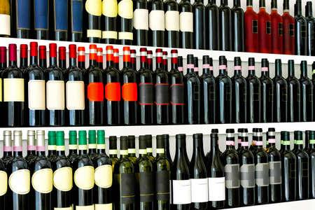 Close up detail of wine bottles shelves