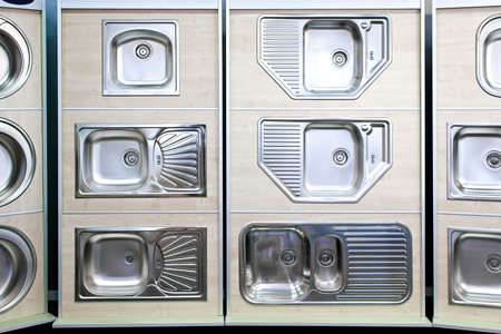 Display Of Stainless Steel Kitchen Sinks Samples Stock Photo ...